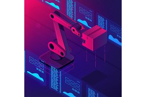 Automated robot arm 3d isometric vector illustration
