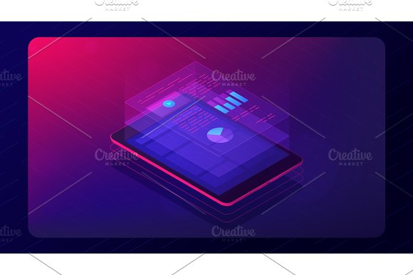 Analysis Cloud App Concept 3D Isometric Vector Illustration