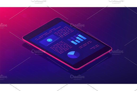 Analysis App For Tablet 3D Isometric Vector Illustration