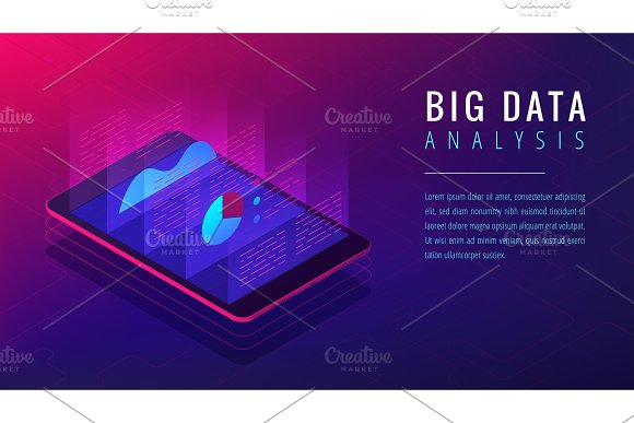 Isometric Big Data Analysis Landing Page Concept