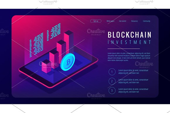 Isometric Blockchain Investment Landing Page Concept