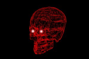 Skull with network connection red lines on black background in Halloween concept. 3d illustration.