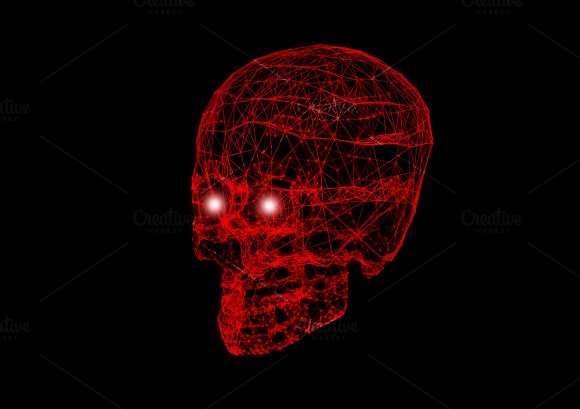 Skull With Network Connection Red Lines On Black Background In Halloween Concept 3D Illustration