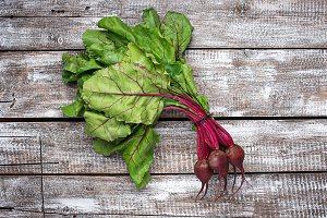 Beetroots on light wooden background