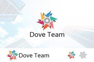 Dove Pigeon Circle Star Logo