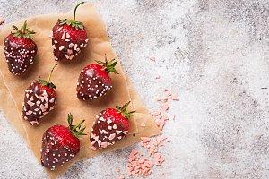 Strawberry in chocolate, delicious dessert
