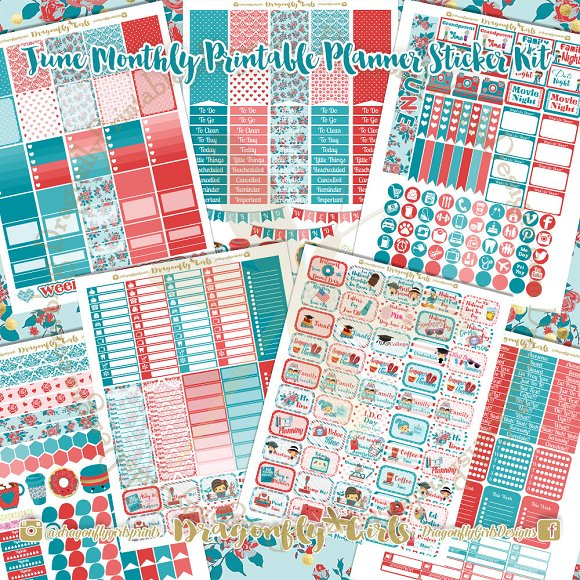 June Printable Planner Stickers