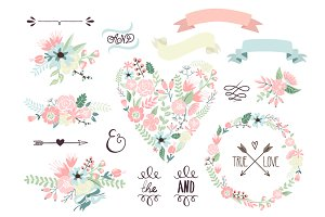 Wedding Floral clipart, Wreath heart