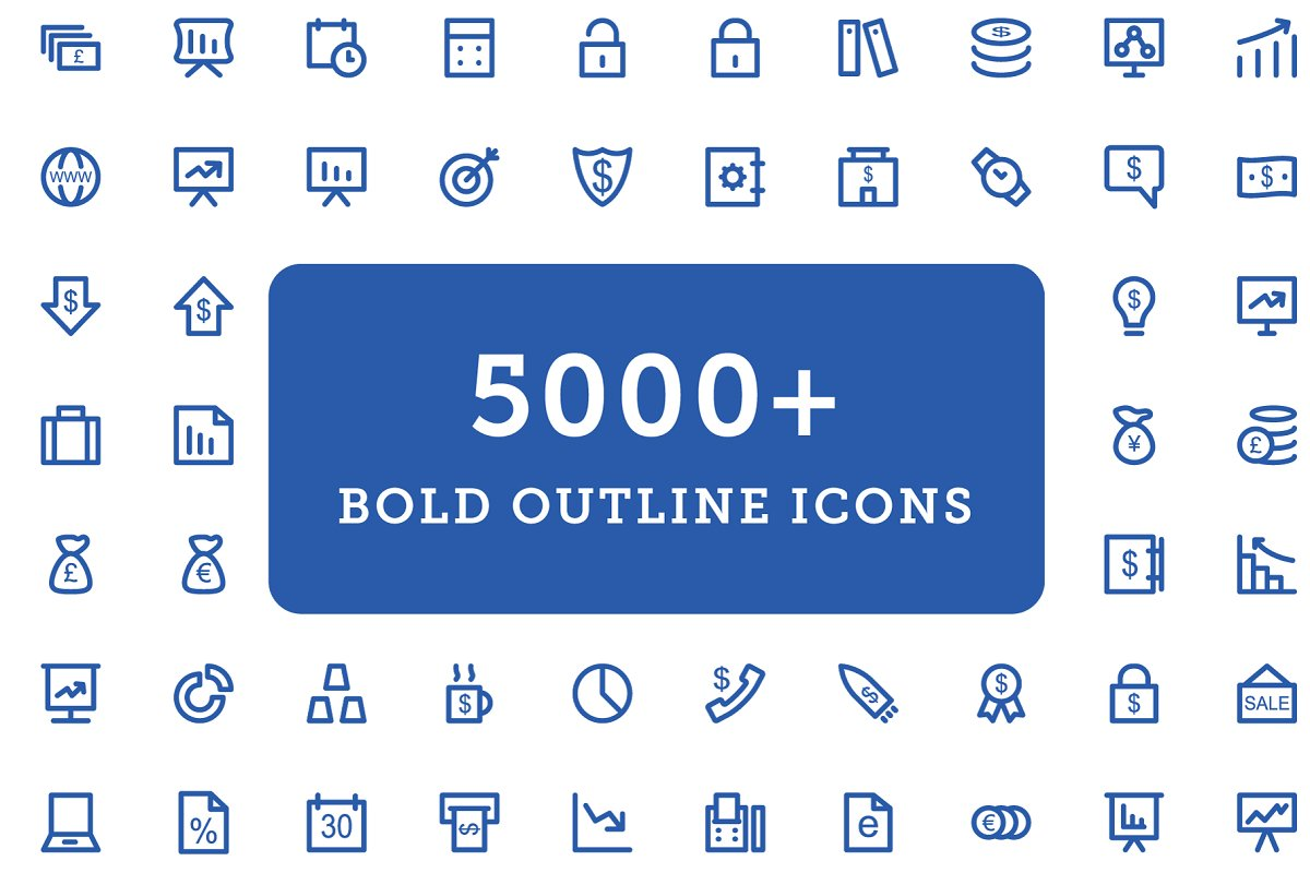 5000+ Bold Outline Icons Bundle ~ Icons ~ Creative Market