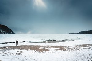 Lonely Man on the Frozen Great Lakes