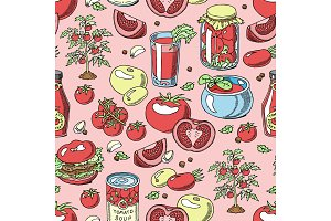 Tomato vector juicy tomatoes food sauce ketchup soup and paste with fresh red vegetables illustration organic ingridients for vegetarians diet set seamless pattern background