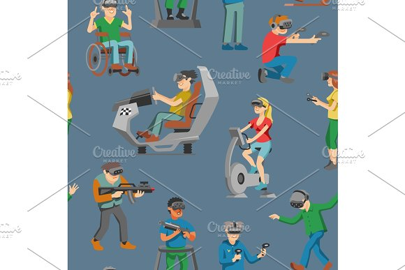 Virtual Reality Vector Character Gamer With Vr Glasses And Person Playing In Virtuallization Technology Illustration Set Of People Gaming In Virtually Game Seamless Pattern Background
