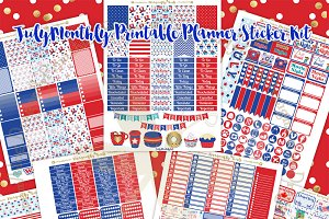 July Printable Planner Stickers