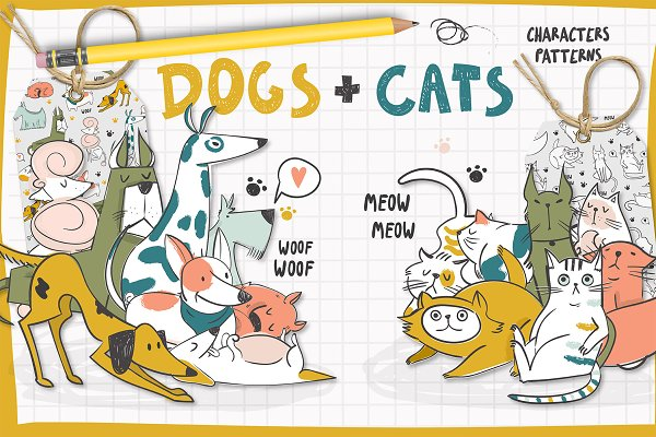 Illustrations and Illustration Products: Twisted Tail - Dogs+Cats