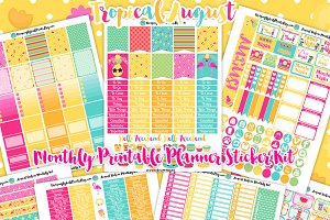 August Printable Planner Stickers