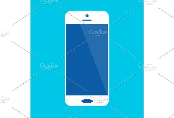 White Smart Phone Icon Background