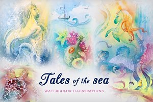 Watercolor illustrations Sea