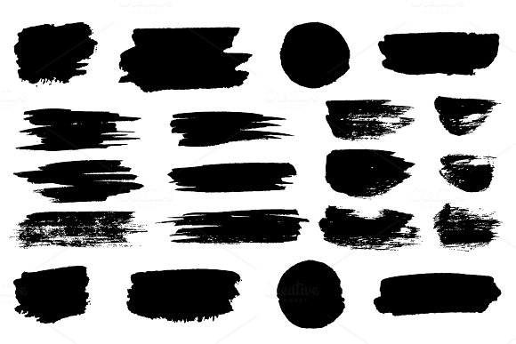 Vector Black Paint Brush Spots Highlighter Lines Or Felt-tip Pen Marker Horizontal Blobs Marker Pen Or Brushstrokes And Dashes Ink Smudge Abstract Shape Stains And Smear Set With Texture