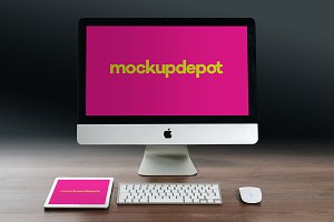 4K iMac and iPad PSD mockup