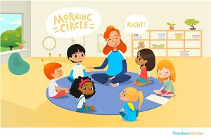 Preschool classroom. Circle-time.