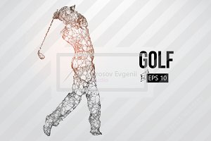 Silhouettes of a golf players. Set
