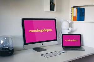iMac and Macbook Pro PSD mockup