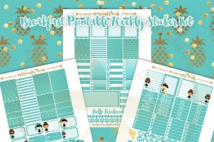 Breakfast Printable Planner Stickers