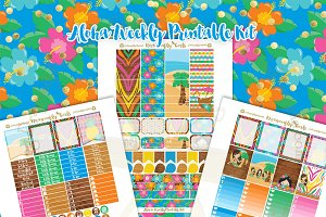 Aloha Printable Planner Stickers