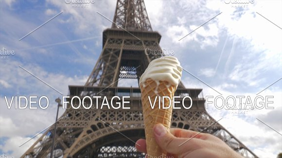 Soft Serve Ice Cream And Eiffel Tower In Paris France