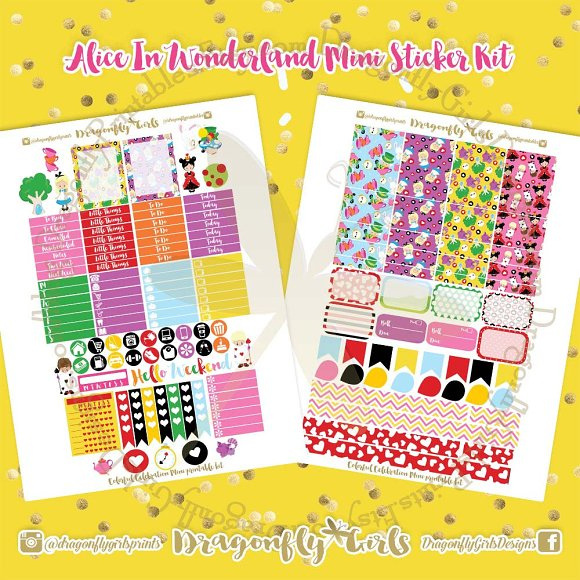 Alice Wonderland Printable Stickers