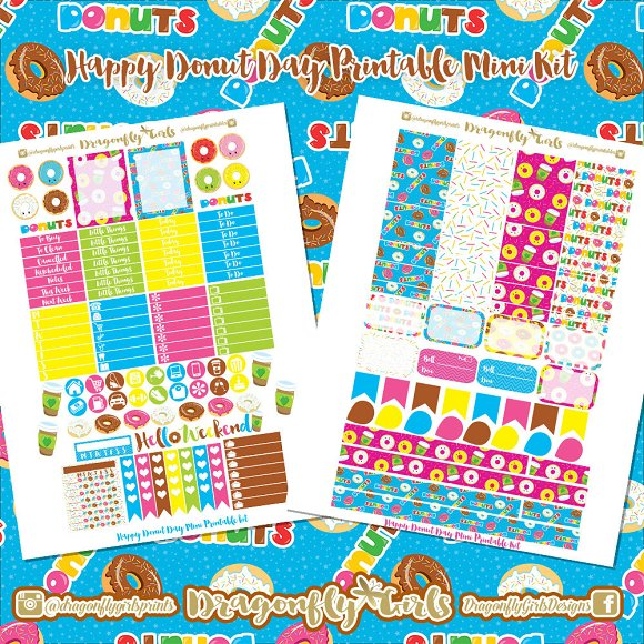Happy Donuts Printable Stickers