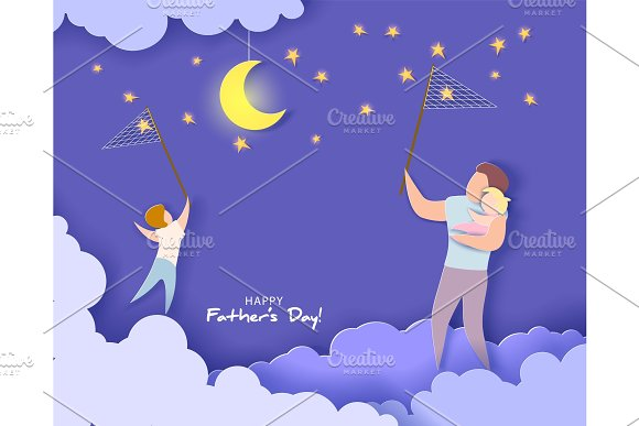 Happy Fathers Day Card Paper Cut Style