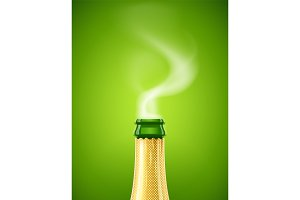 Champagne. Wine bottle with smoke.