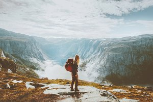 Solo traveling girl hiking