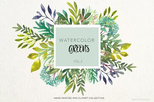 Watercolor Greens ClipArt PNGs