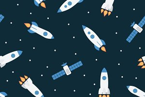 Seamless pattern with rockets