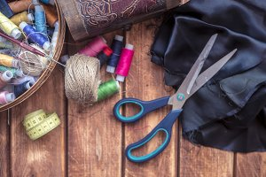 overhead knitting products, threads, scissors and cloth