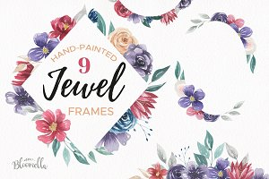 Jewel Watercolor Frames & Borders