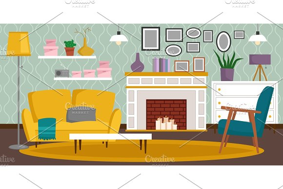 VIP Vintage Interior Furniture Rich Wealthy House Room With Sofa Set Brick Wall Background Vector Illustration
