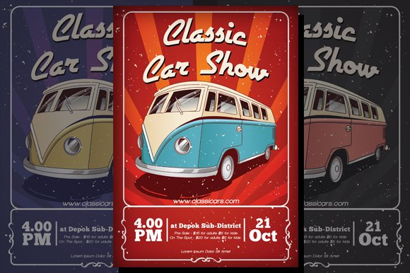 Classic Car Flyer Flyer Templates Creative Market
