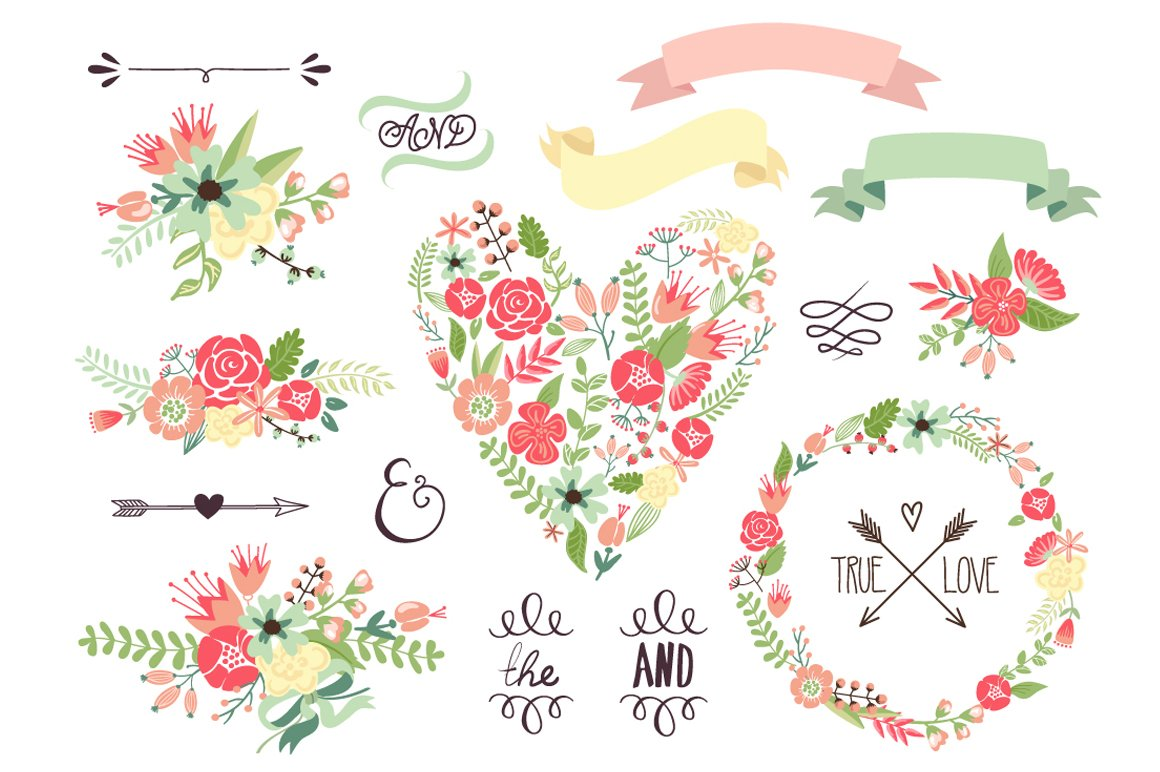 Wedding Floral Clipart Wreath Heart Illustrations Creative Market