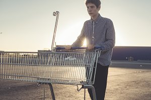 young male teenager going shopping