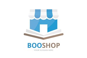 Vector book and store logo