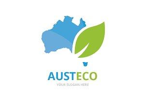Vector australia and leaf logo