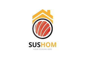 Vector sushi and real estate logo