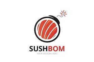 Vector sushi and bomb logo