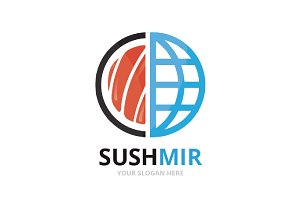 Vector sushi and planet logo