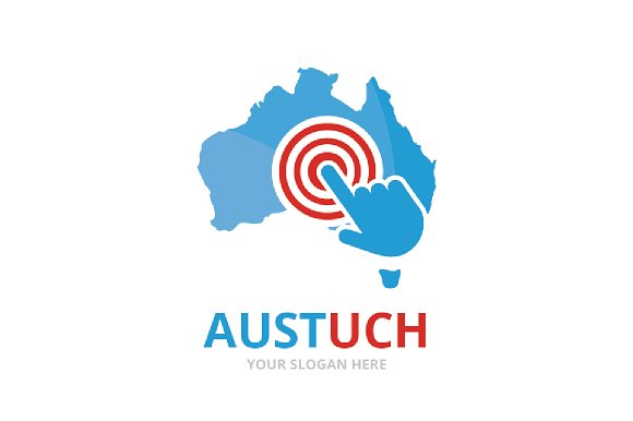 Vector Australia And Click Logo Combination Oceania And Cursor Symbol Or Icon Unique Continent And Digital Logotype Design Template