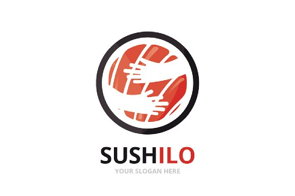 Vector Sushi And Hands Logo Combination Japanese Food And Embrace Symbol Or Icon Unique Seafood And Hug Logotype Design Template