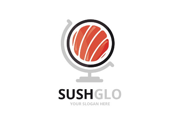 Vector Sushi And Globe Logo Combination Japanese Food Planet Symbol Or Icon Unique Seafood Logotype Design Template
